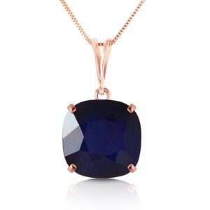 14K SOLID GOLD NECKLACE WITH CUSION SHAPE SAPPHIRE